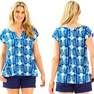 NWT Lilly Pulitzer indigo get in line Shelley top